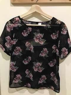 H&M Divided Flower Print Top