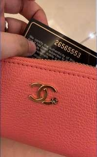 Chanel zip wallet small pink