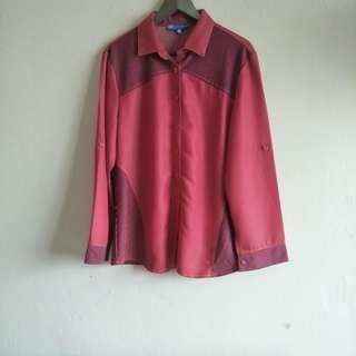 Long Sleeve Red Formal Shirt Semi Stretch
