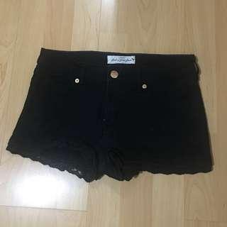 H&M Lace-Hem Black Denim Shorts