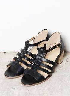 Black Weaved Open Toe Heels/Sandals