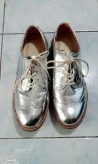 Bershka Metallic Silver Shoes
