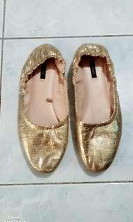 Mango Metallic Gold Pump Shoes