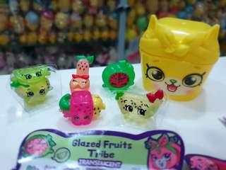 🚚 BN 5 Rare Exclusive Glazed Fruits Tribe Translucent Shopkins plus Pet-pod Case