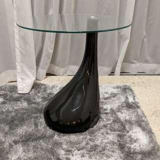 Piano Black Side Table with Glass Top