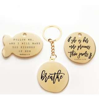 Engrave your favourite bible verse, motivational verse on keychain tag