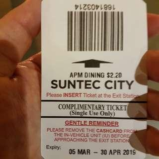 Suntec city parking coupon