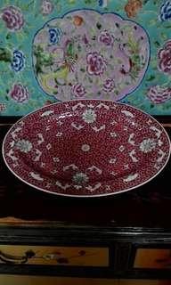 Red oval chinese porcelain platter