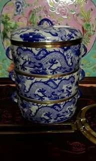 Vintage white n blue porcelain tiffin