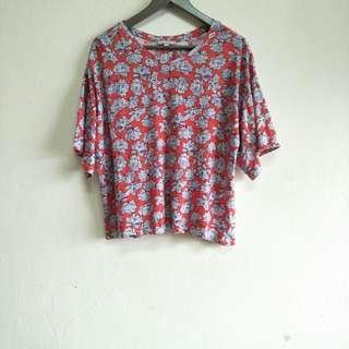 Target Flowery Back Split Blouse Shirt