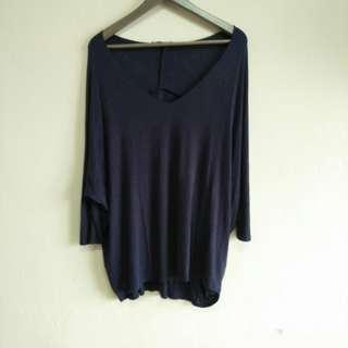 Stretchable Dark Blue Wide Neck Loose Baggy Shirt