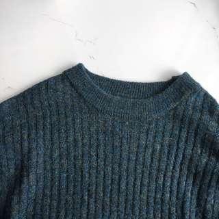 🚚 落肩over size雜訊藍綠長版毛衣