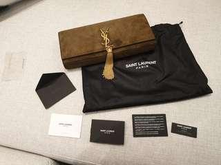 YSL brown suede clutch with tassels