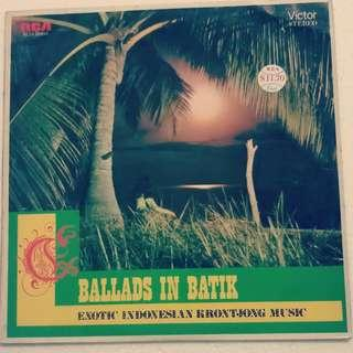 """Used LP Krontjong Indo Music 12"""" 33 RPM Malaysia Pressing"""