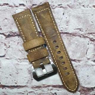 🚚 Sale : Premium 24mm Padded Watch Strap Dark Brown Colour Genuine Assolutamente Leather (1016DBA24)