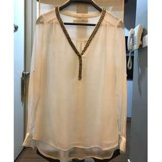 Zara Off-White Sequined Top Blouse V-Neck