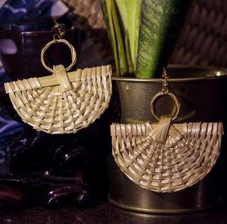 🚚 Satay Fans Rattan Earrings