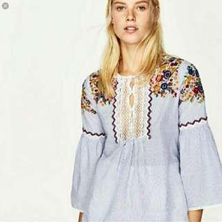 Zara Floral Embroidered Striped Top