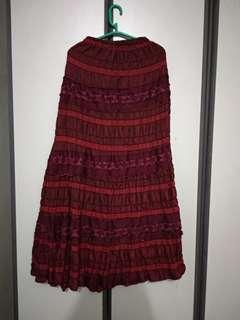 Red Skirt Rok Payet A Line Kondangan Pesta