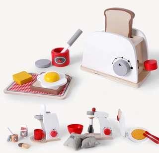 BN Wooden Kitchen Appliance Toy Set - Bread Toaster/ Cake Mixer / Coffee Maker Machine Simulation Pretend Play