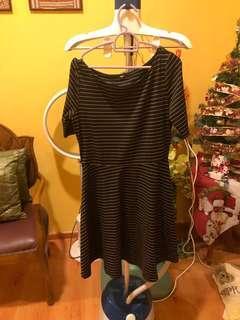 Stripe Black And Gold Dress Uniqlo