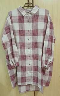 🚚 紅白大格子寬版襯衫