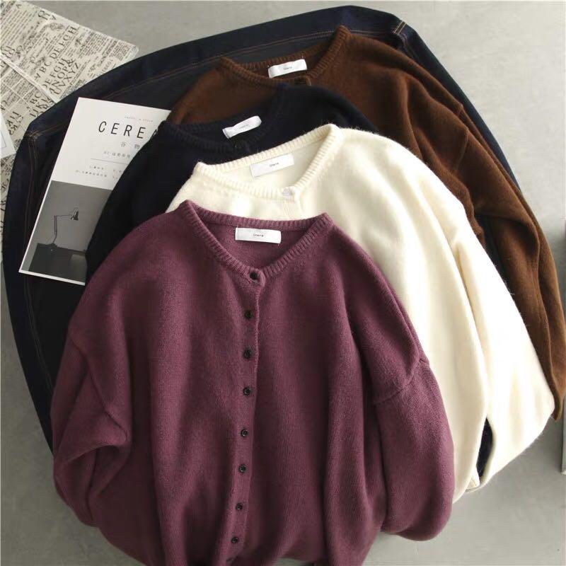 多色 復古淨色針織外套 紫色 米白 深藍 咖啡