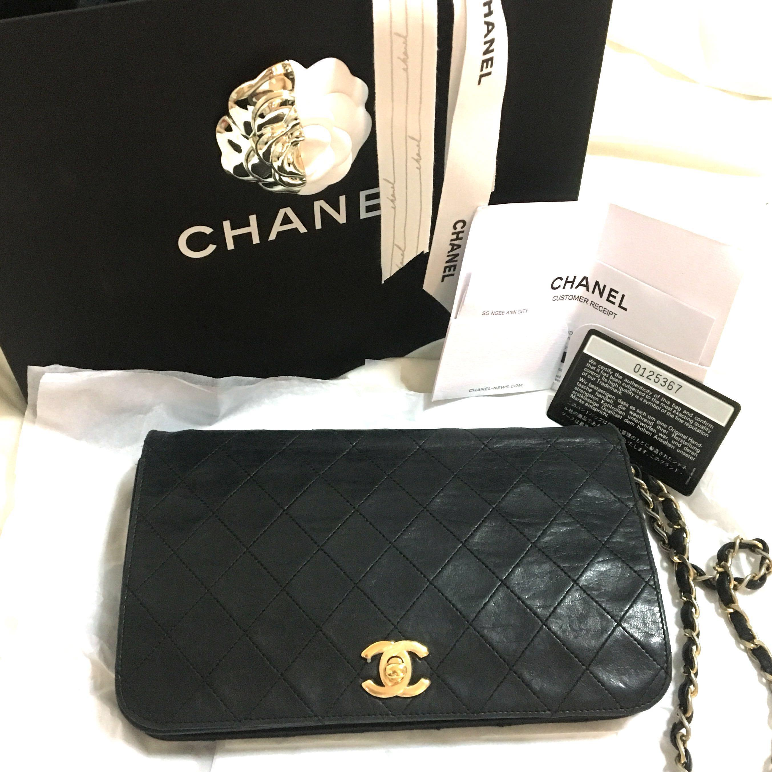 8df613af3fa4 Authentic Vintage Chanel Lambskin Full Flap Single Folded wallet on Chain  Bag on Carousell