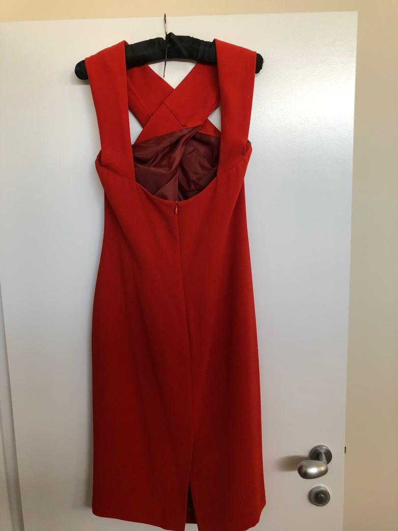 Carla Zampatti Red Midi Dress with Front Cross detail