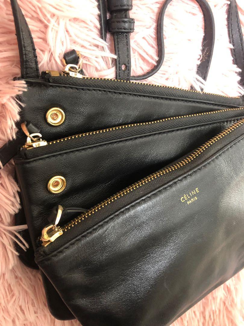 Celine bag clutch cross body hand bag leather handbag black gold
