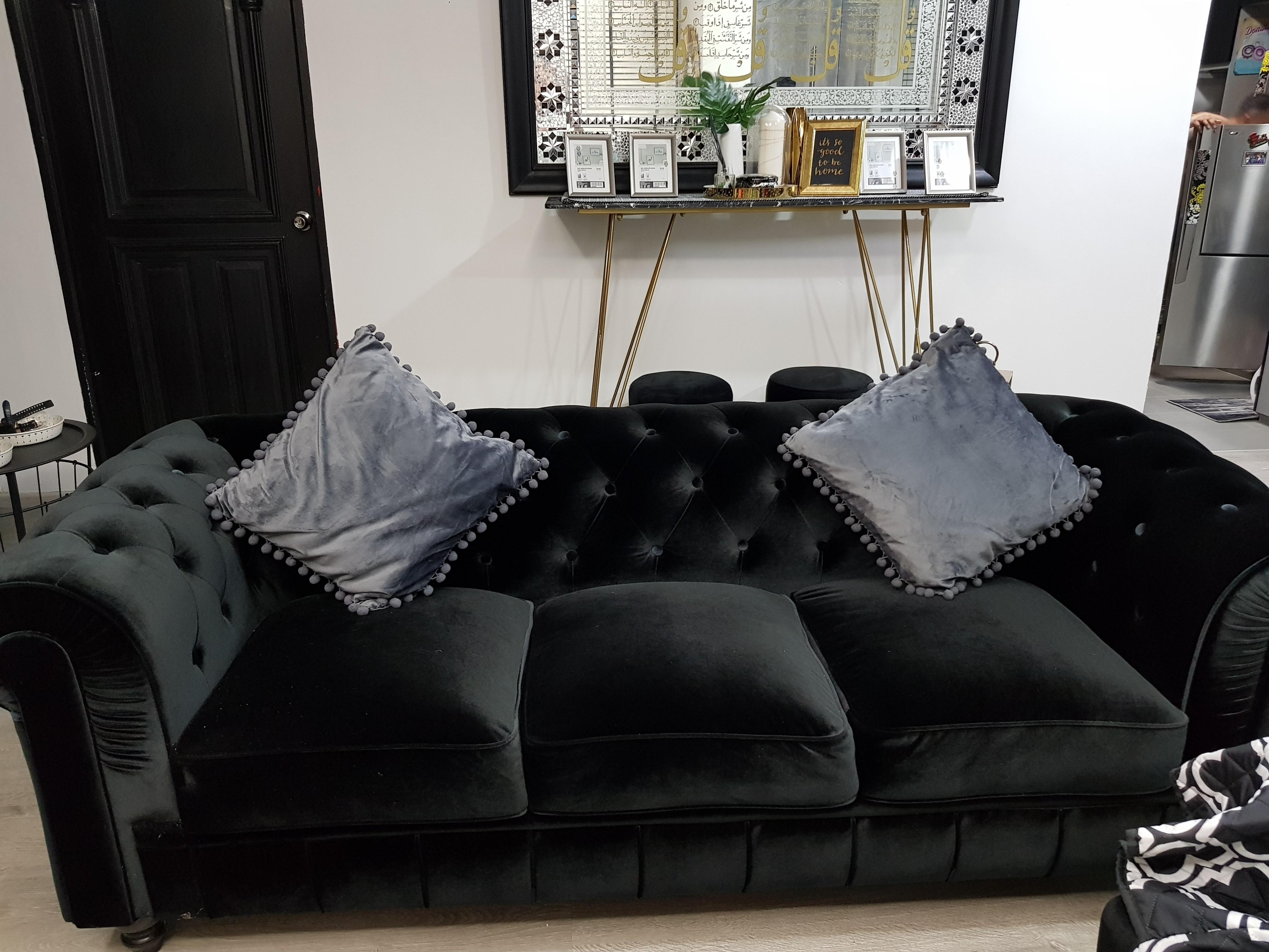 Black velvet Chesterfield sofa, Furniture, Sofas on Carousell