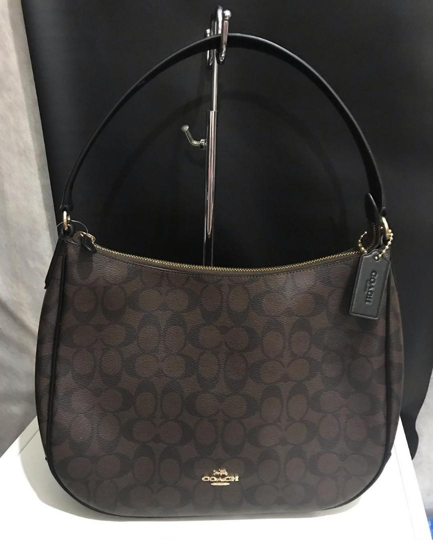 Coach Hobo Zip Shoulder PVC Signature brown black sz 32x27