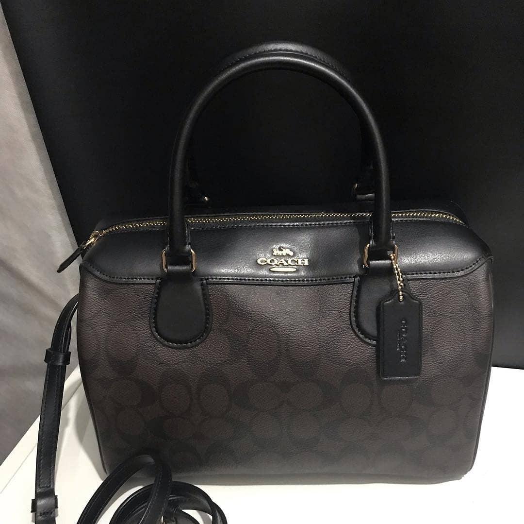 Coach Pebble Leather Large Bennet size 29x23x12,5cm Signature Brown Black