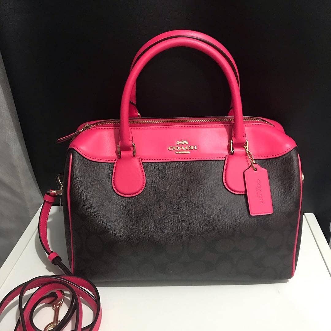 Coach Pebble Leather Large Bennet size 29x23x12,5cm Signature Brown Black/ Neon Pink