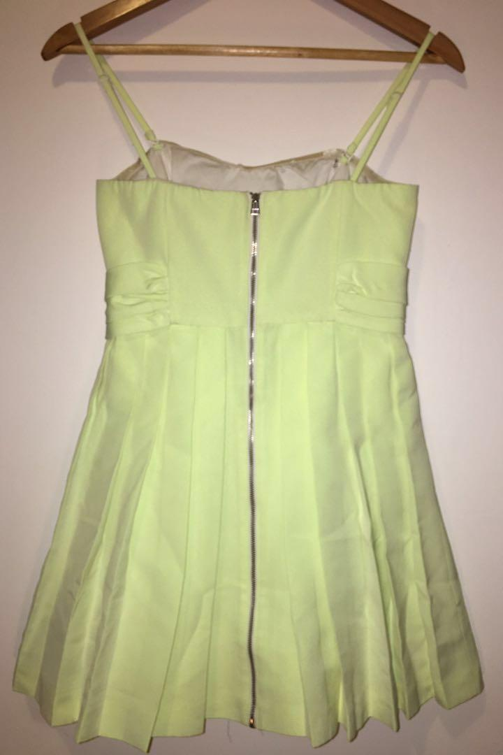 Forever New Cocktail Dress Lime (Green/Yellow) Bow Pleated Optional Strapless