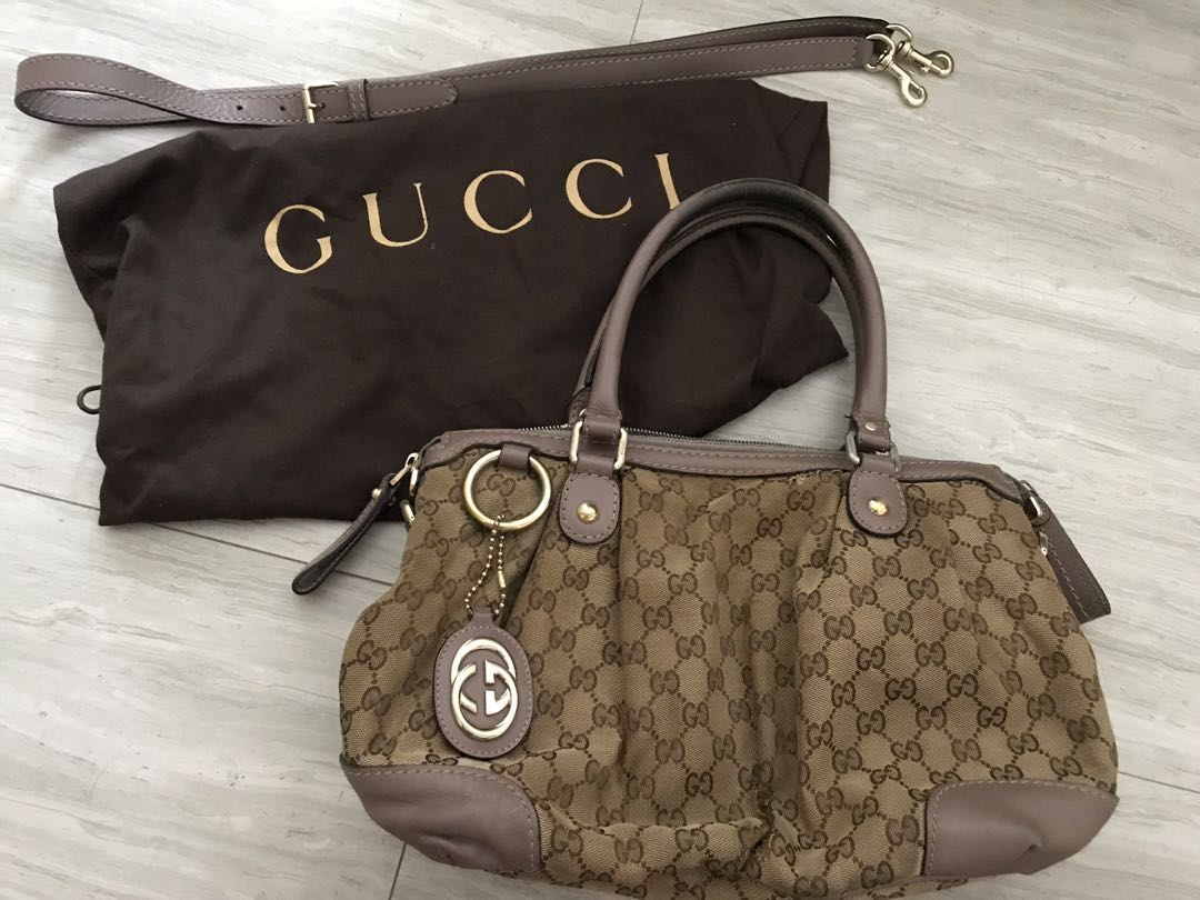 b89deac09f40 Gucci Canvas bag w lilac leather, Luxury, Bags & Wallets, Handbags ...