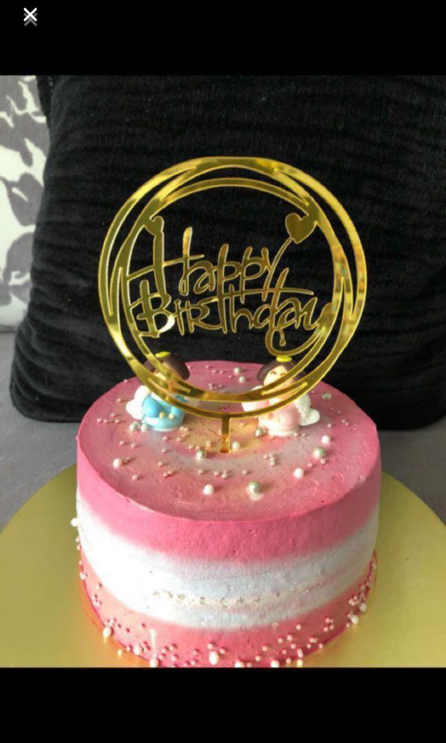 Happy Birthday cake topper acrylic number gold silver