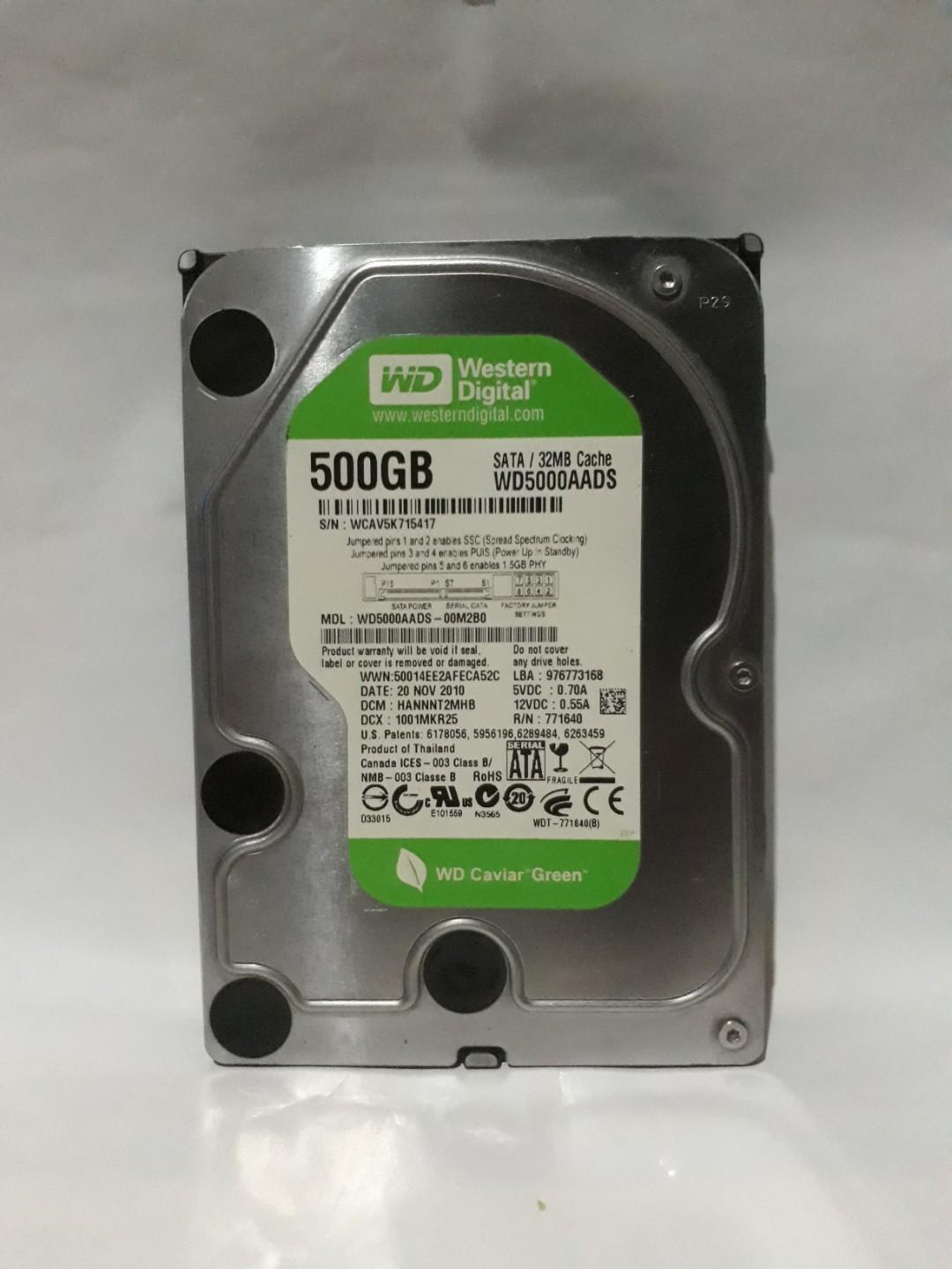 Hard Disk PC/Computer Merk WD Caviar Green 500GB Normal Abis #Cicaheum