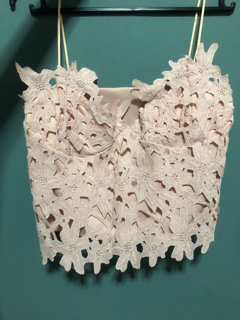 Instock Crochet Crop Bralette Top In Pale Pink Womens Fashion