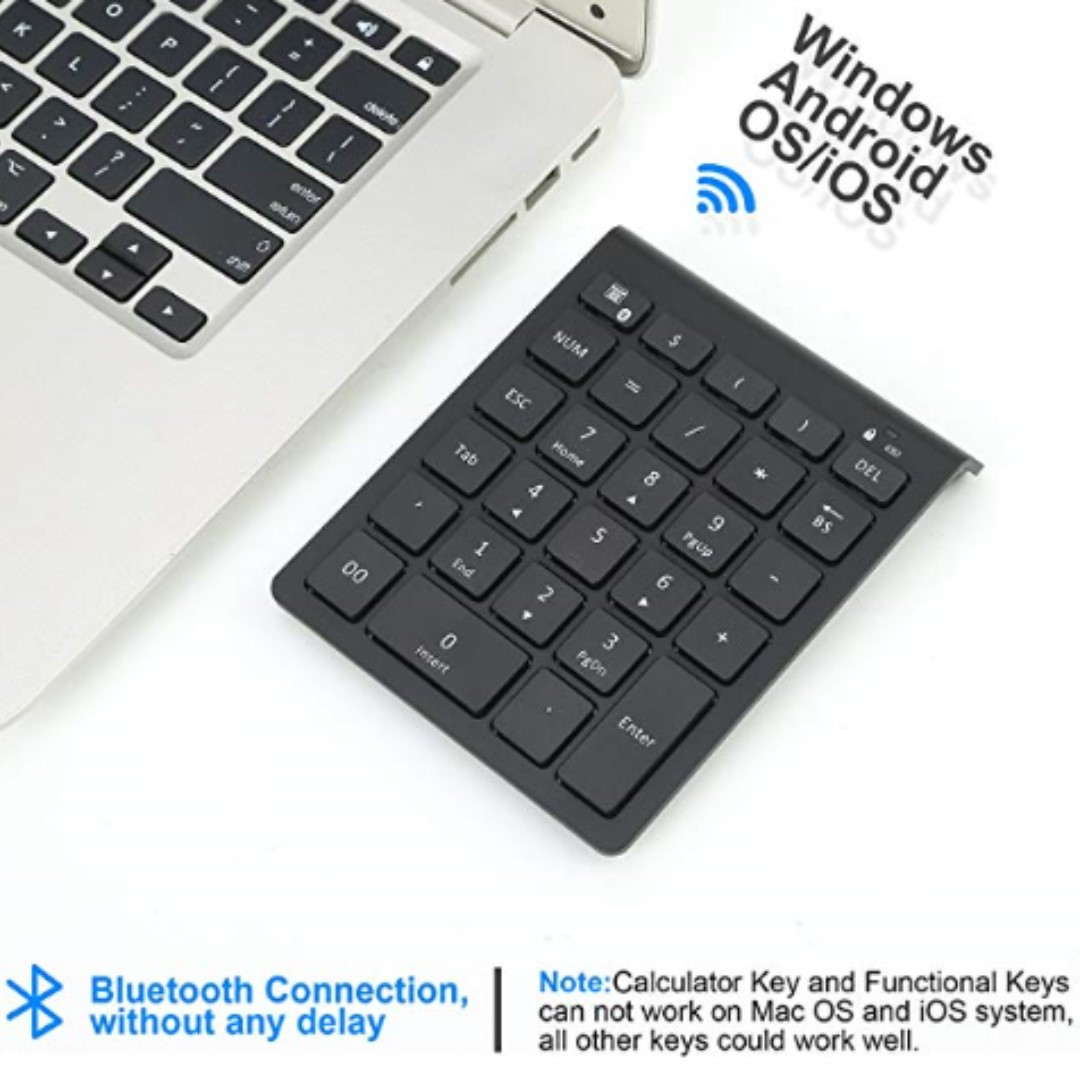 P15 Bluetooth Numeric Keypad Portable Wireless Bluetooth 28-key External  Number pad with Multiple Shortcuts for Computer Laptop Windows Surface Pro