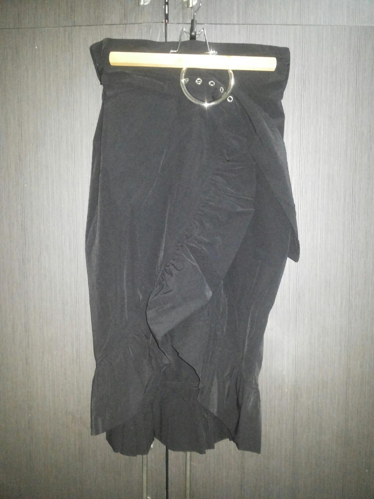 Pomelo Black Ruffle Skirt