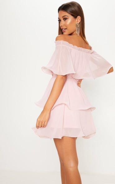 Pretty Little Thing Off the Shoulder Pink Chiffon Dress