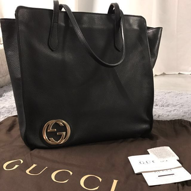 84fba4a7e PRICE REDUCED Authentic Gucci Interlocking G Leather Tote, Luxury ...
