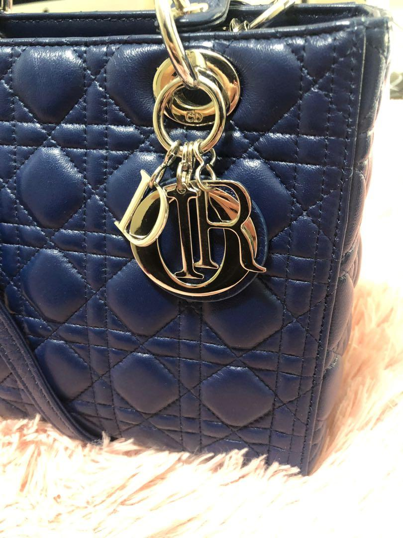 Quilted last Dior bag navy blue silver hardware tote handbag chain strap cross body