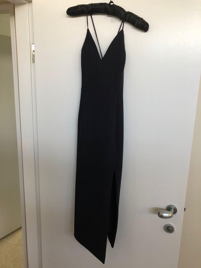 Shona Joy Black Sexy LBD with thigh split and laced back