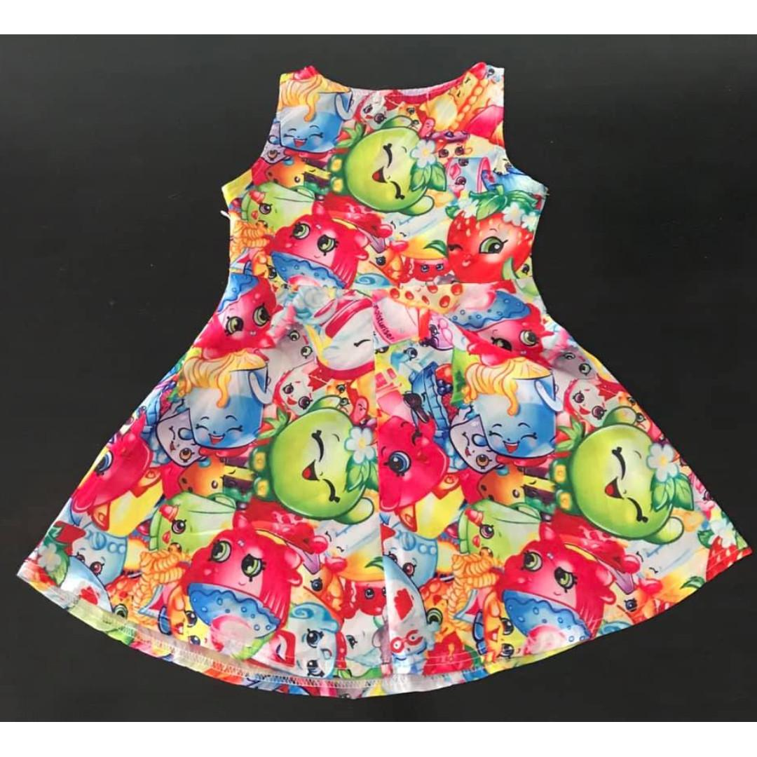 Size 120cm height (Approx size 5)  Silky shopkins print dress