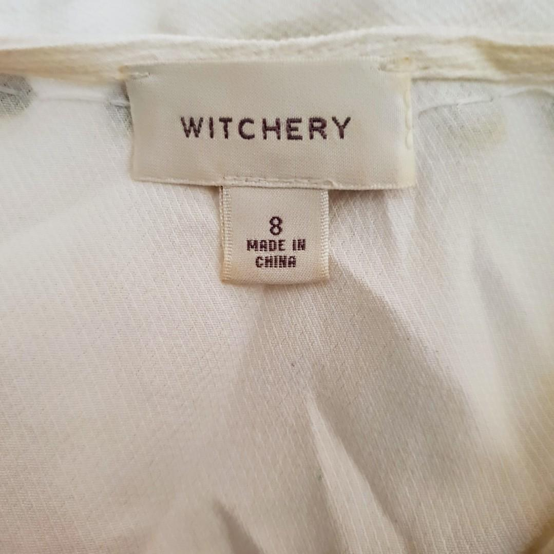 Women's size 8 'WITCHERY' Gorgeous white long top/dress with studs - AS NEW