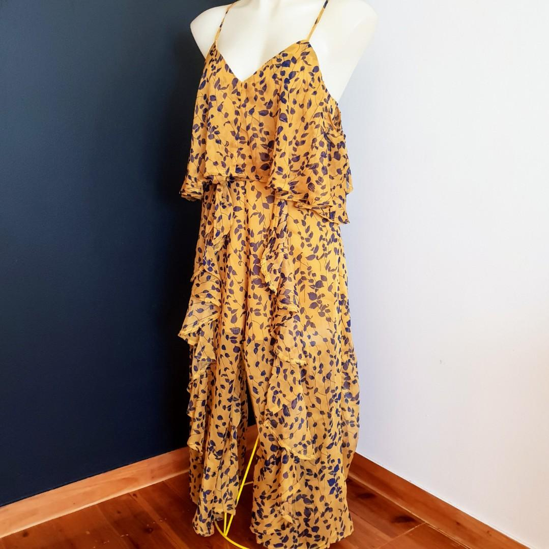 Women's Size M 'MIKA & GALA' Stunning yellow and navy ruffle jumpsuit- AS NEW