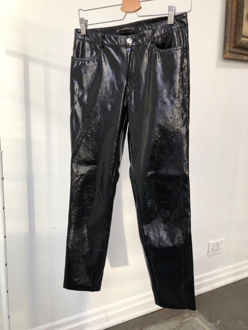 Zara black vinyl pants