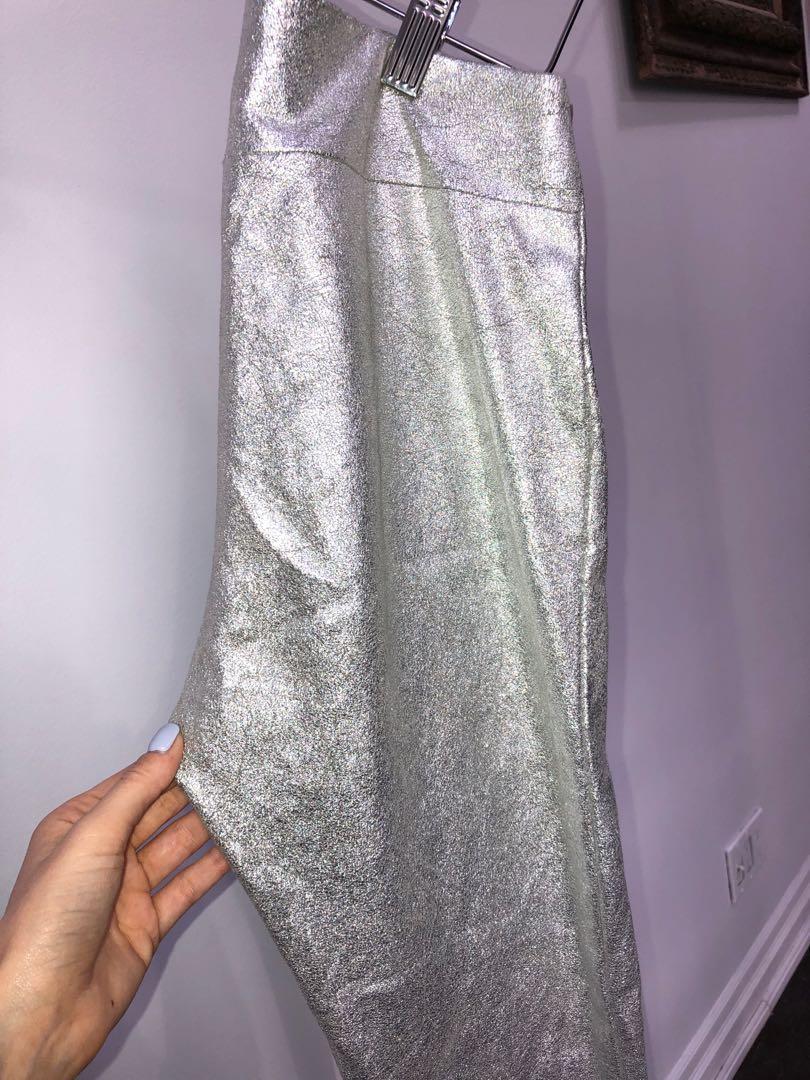 Zara silver metallic leggings